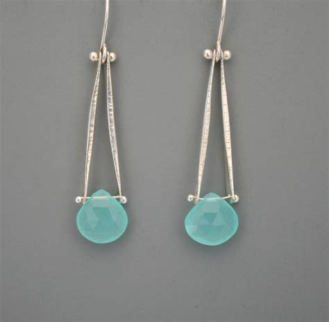 how to make sterling silver jewelry sterling silver and aqua chalcedony drop earrings