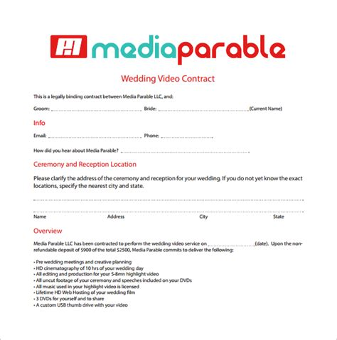 Wedding Ceremony Schedule  Videography Contract Template  Download