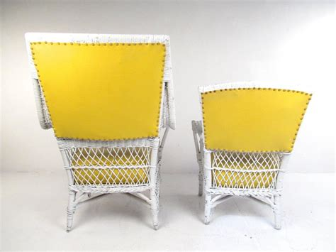 vinyl wicker outdoor furniture set of six vintage wicker and vinyl chairs mid century modern patio seating for sale at 1stdibs