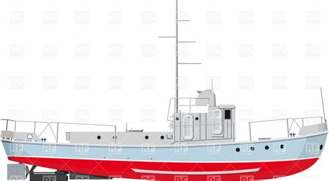 side of a fishing boat side view of small fishing boat royalty free vector clip