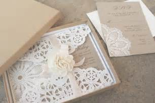 lace and kraft paper boxed wedding invitations onewed