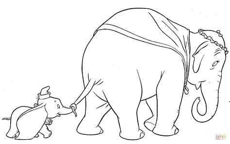 Dumbo Walks With His Mother Coloring Page Free Printable Coloring Pages Dumbo Pictures To Color