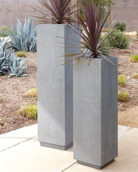 modern pots and planters 46 quot t modern square planter contemporary outdoor pots
