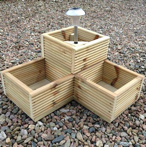 Wooden Herb Planter Box by Wooden Garden Decking Corner Planter Box With Solar Light
