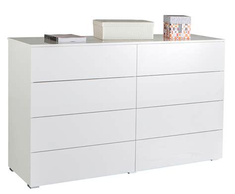 commode 8 tiroirs gran privilegio blanc brillant