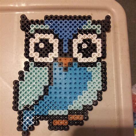 owl pony bead pattern blue owl perler by koiykeuchiha pixel