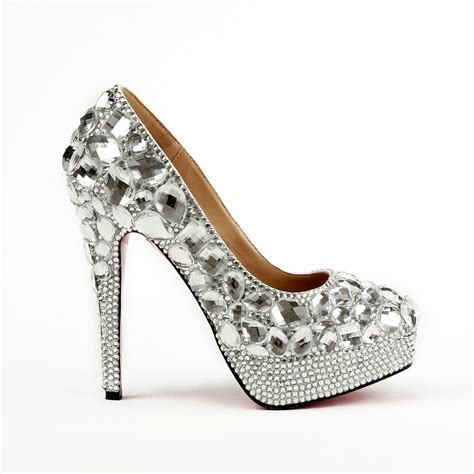 popular silver prom shoes with rhinestones buy cheap
