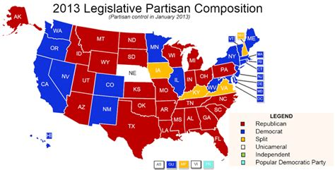 united states political party map 2012 state partisan composition