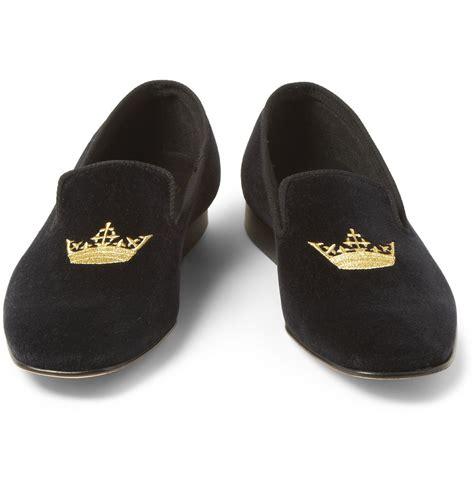 velvet slippers church s sovereign embroidered velvet slippers in black