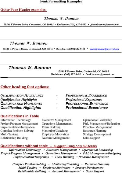 Resume Header Resume Heading Template