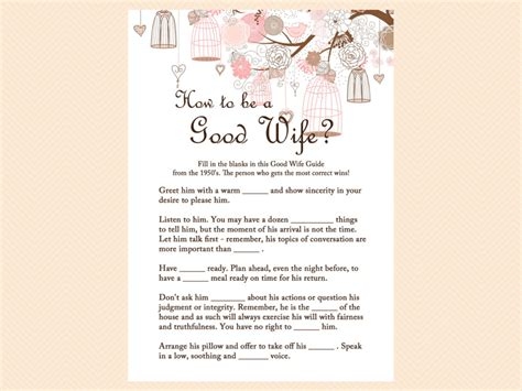 how to be a good wife to your husband hubpages pink birdcage bridal shower games pack magical printable