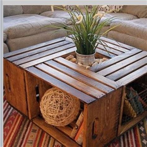 diy wooden crate box coffee table with a plant centre