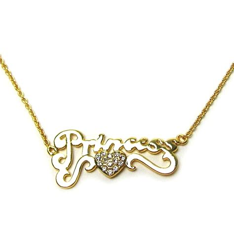disney couture gold plated princess word pendant with