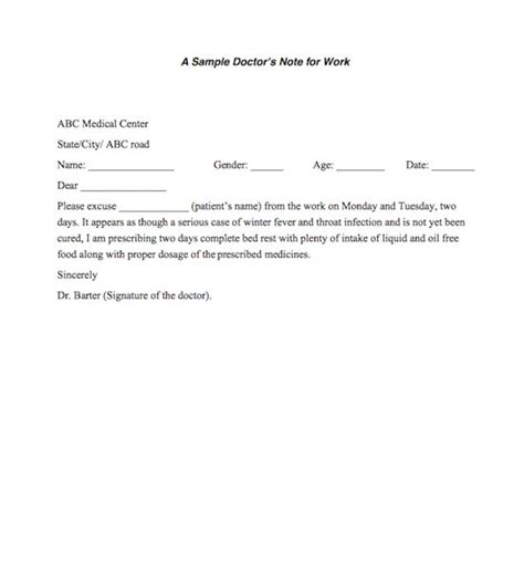 doctor note 25 free doctor note excuse templates template lab