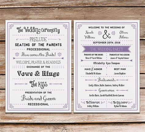 Free Printable Wedding Program Mountainmodernlife Com Modern Wedding Program Templates