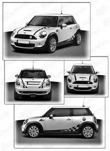 Mini Cooper Stripes Uk Mini Cooper Bonnet Checkered Side Back Stripes Kit Ebay