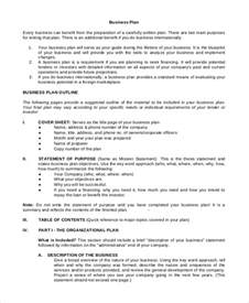 business plan template outline sle business plan 9 exles in pdf word