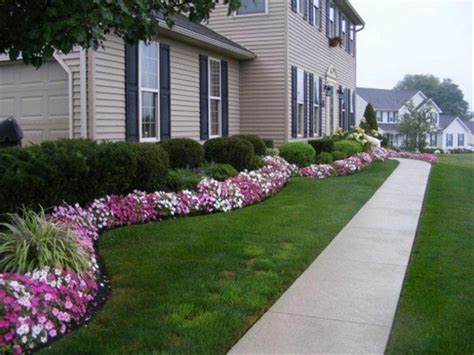 Easy Flower Garden Ideas Simple Front Lawn And Concrete Walkway Using Purple Flower Garden Designs For Impressive Home