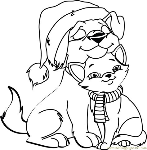 christmas cat and dog coloring page free christmas