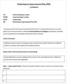 Service Improvement Letter Employee Performance Improvement Plan Pip Template