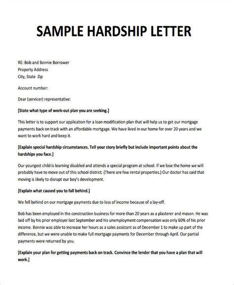 Hardship Letter To Bank For Loan Modification 6 Hardship Letter Templates 6 Free Sle Exle Format Free Premium Templates