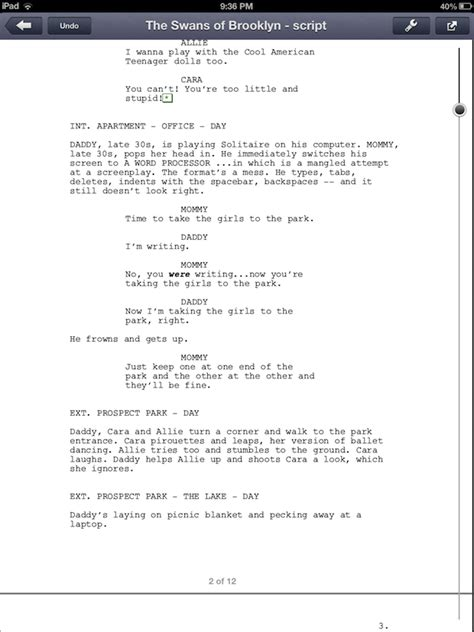 format date script writing movies on the ipad with final draft writer 171 ipad
