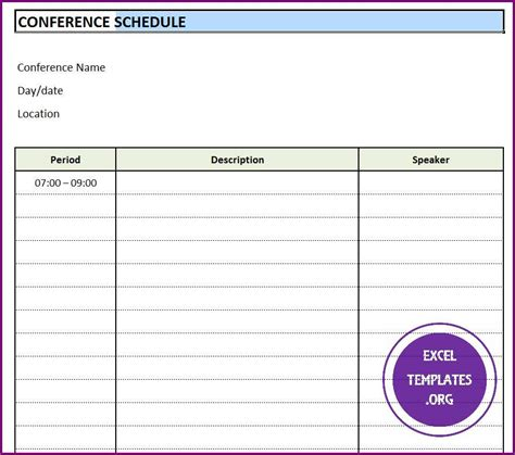 Conference Schedule Template Excel Templates Excel Spreadsheets Excel Templates Excel Retreat Schedule Template