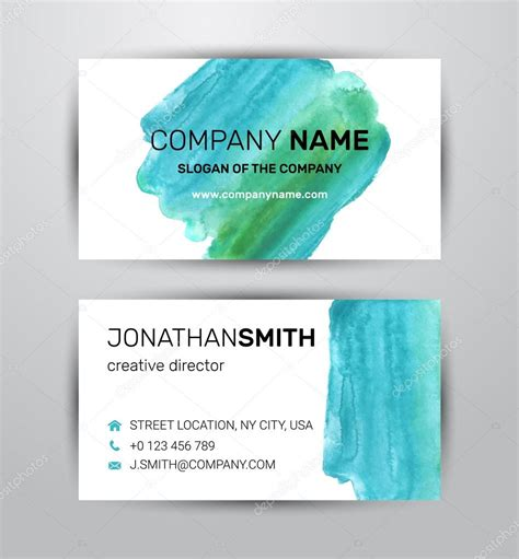 two sided business card template green paint strokes