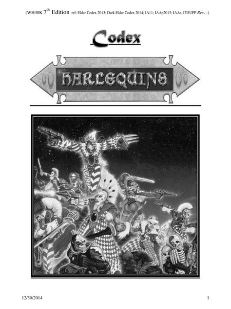 Harlequin Codex WH40K 7thEd | Leisure | Unrest | Prueba