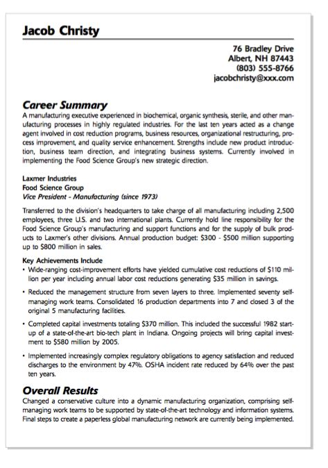 exle of food service resume http