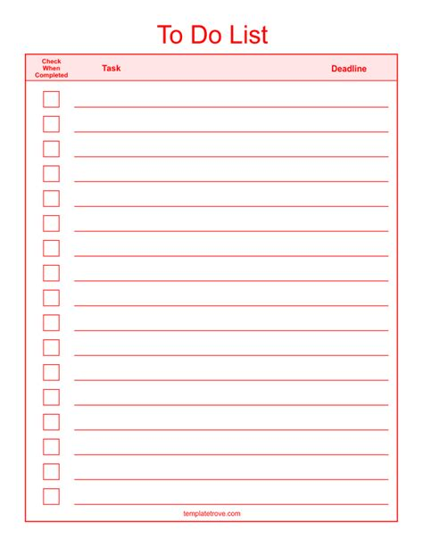 Checklist Templates Weekend To Do List Template