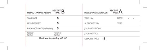 pre paid rent receipt template prepaid taxi fare receipt template pdf