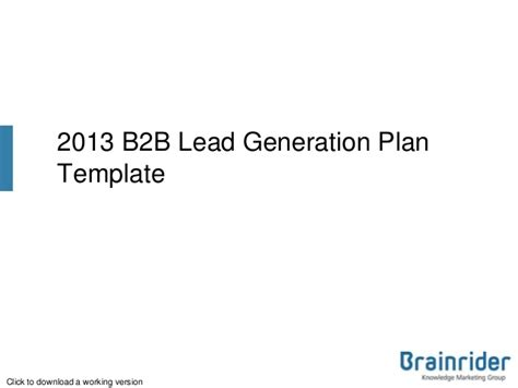 lead generation template 2013 b2b marketing plan template free to