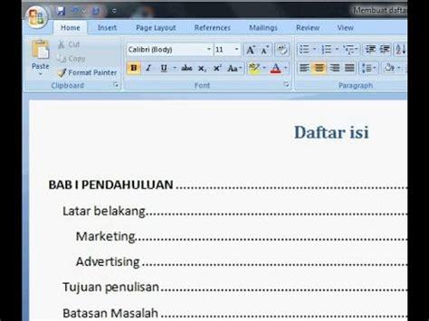 membuat format daftar isi di word 2007 cara membuat daftar isi otomatis di word 2013 free mp3