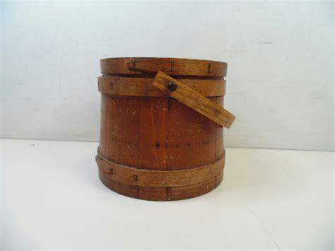 Handcrafted Baskets - vintage rustic handmade wooden sewing basket box barrel w
