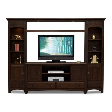 wall unit furniture arts crafts 4 piece entertainment wall unit chocolate american signature furniture
