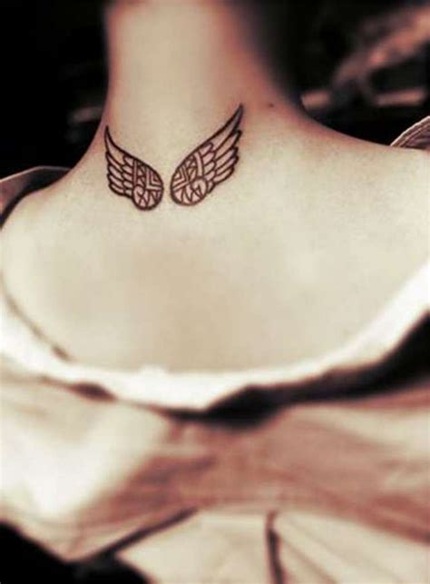 small angel wing tattoos on back 59 wonderful wings neck tattoos