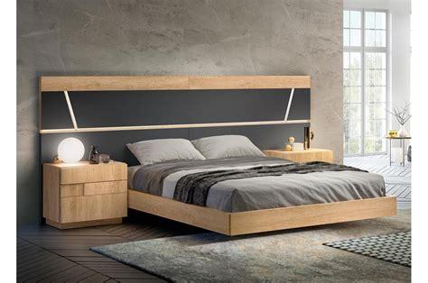 meubles chambre adulte lit contemporain design 160x200 cm teck et anthracite