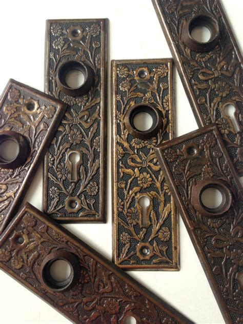 Antique Door Knob Backplates by Antique Door Knob Backplate Bronze Wash Backplates Floral