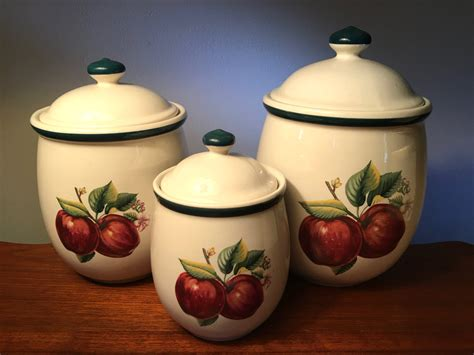 apple kitchen canisters three vintage red apple canisters called casuals by china