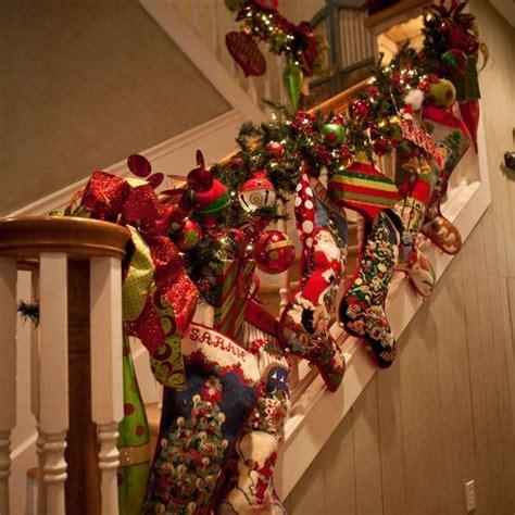 christmas banisters stockings garland cute idea to hang stockings on banister merry christmas