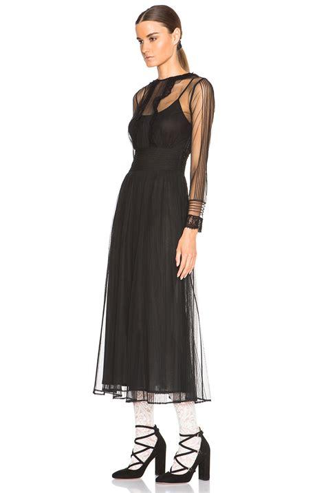 Tendencies Dress Deyhan Sheer Sleeves lyst valentino sheer sleeve maxi dress in black