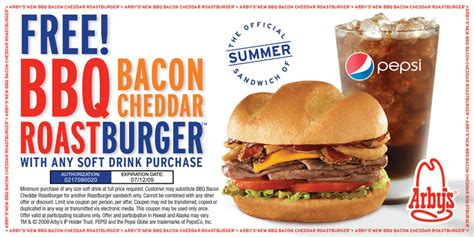 printable food coupons free bbq bacon cheddar roast burger at arbys with purchase