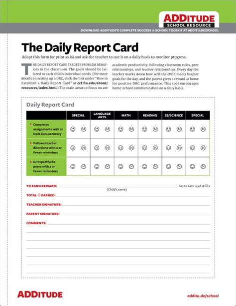 daily report card adhd template 555 best success school images on