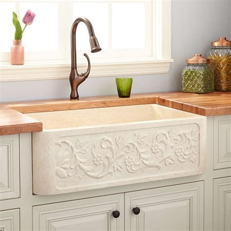 cream kitchen sink 30 quot vine design polished marble farmhouse sink cream