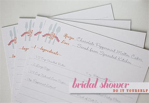 yourself card template bridal shower recipe cards template