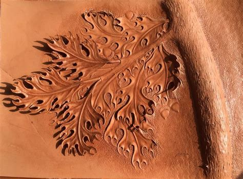 Carving Leather oak tree tooling and modeling leather carving leather