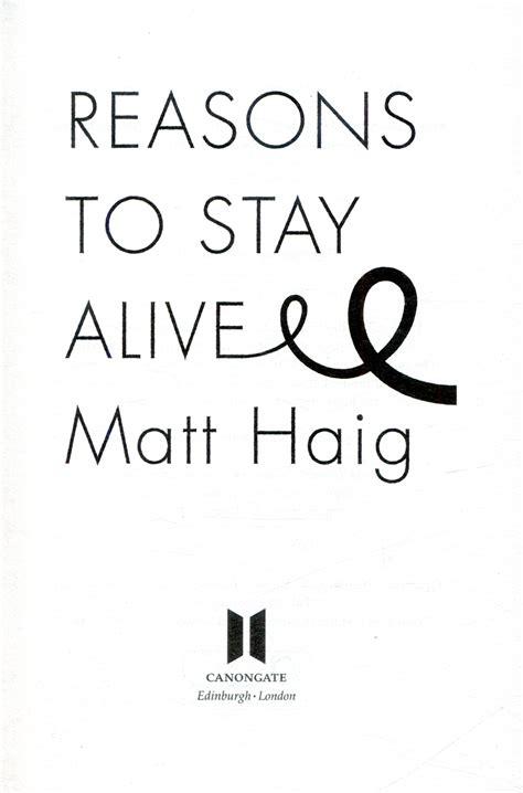 reasons to stay alive 1782115080 reasons to stay alive by haig matt 9781782116820 brownsbfs