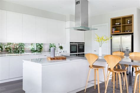 straight line kitchen with island low level slimline cheerful modern day property in melbourne with a posh