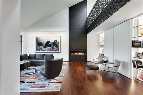 ultra modern living room contemporary residence with cool accents of grey